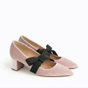 BNIB NEW J.CREW AVERY VELVET SHOES W/ BOW Sz 7!